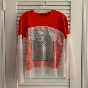 Boohoo Long Sleeve Graphic Top with Lace Overlay